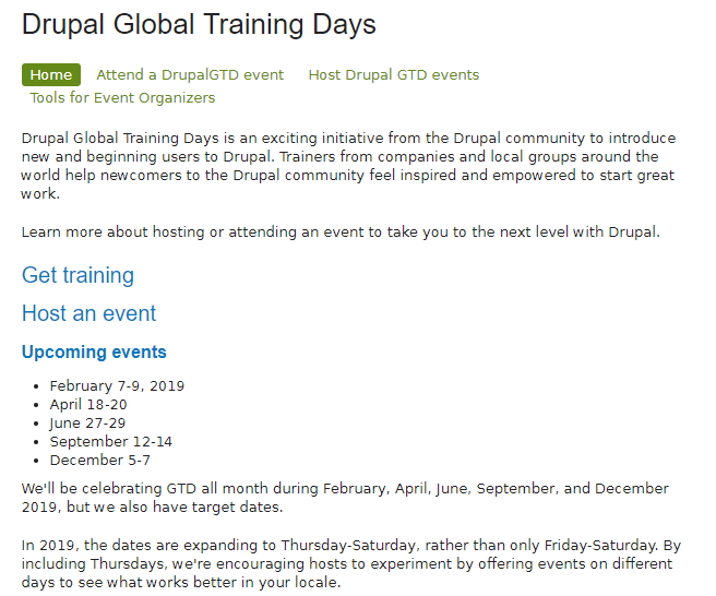 Drupal Global Training Days  2019
