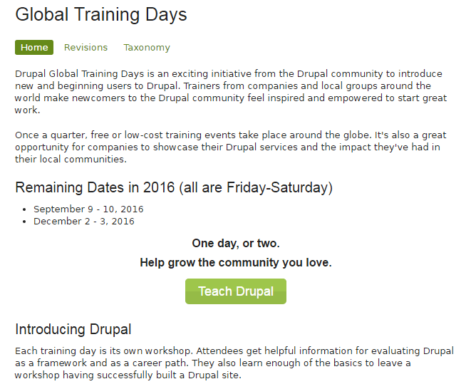 Drupal Global Training Days  September, 2016