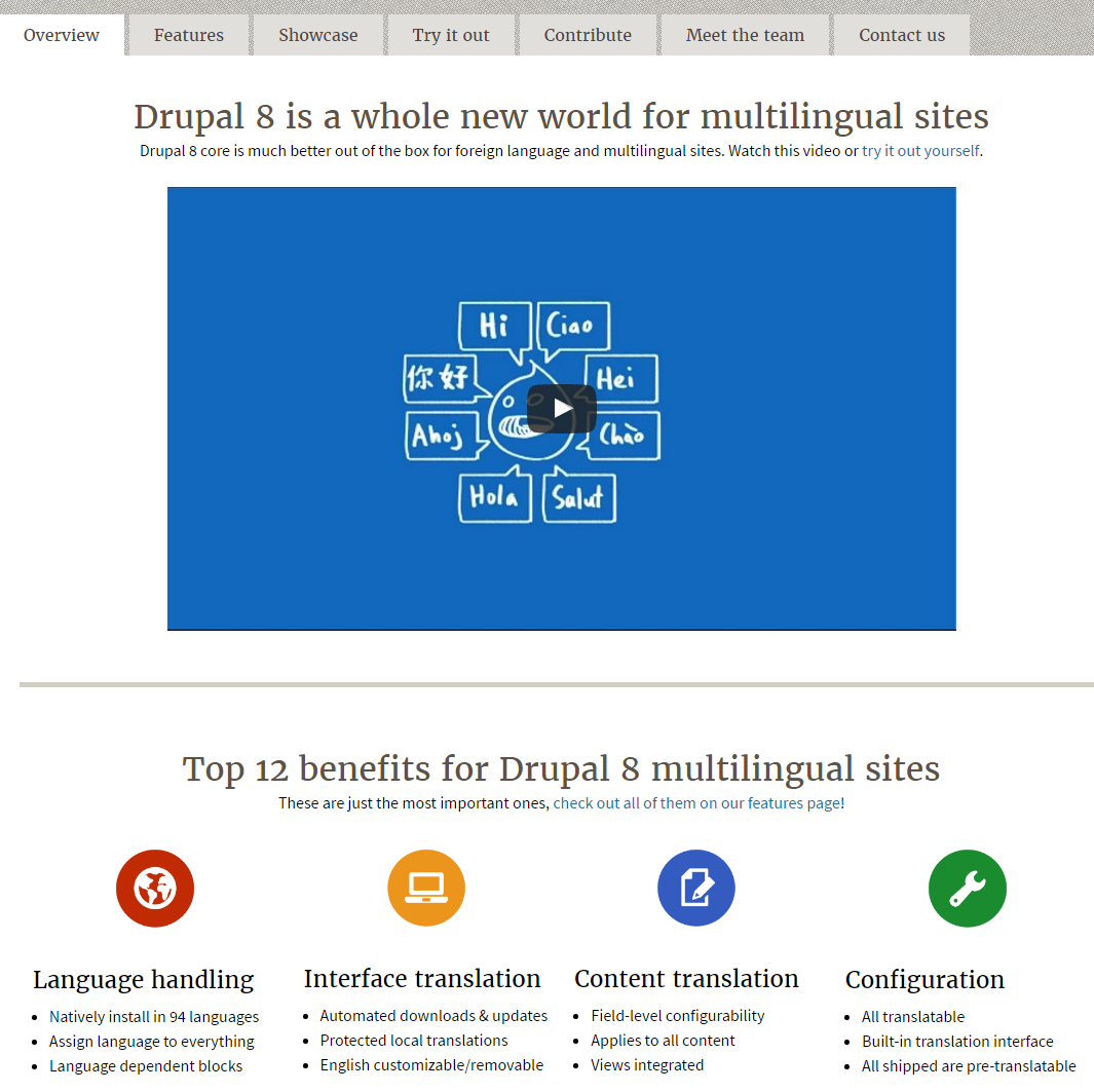 Drupal 8 多言語機能の開発チームサイト Drupal 8 is a whole new world for multilingual sites