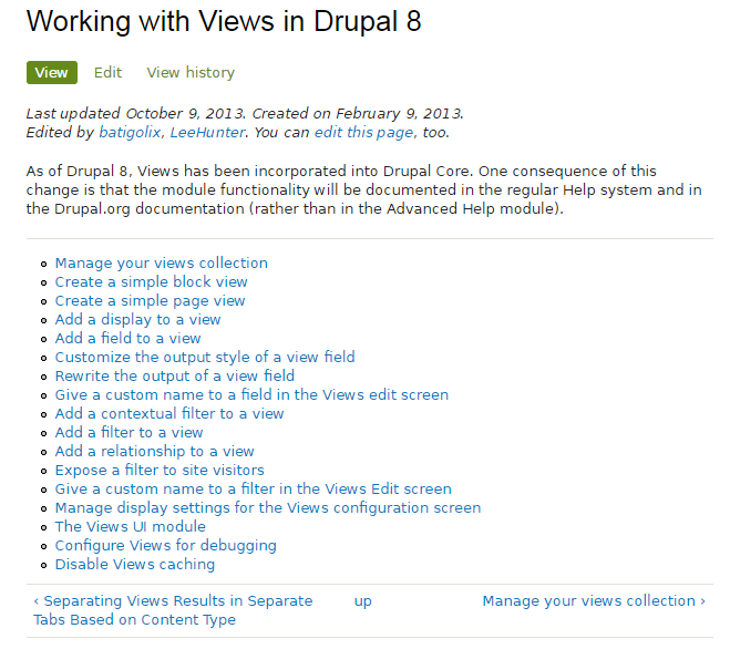 Working with Views in Drupal 8