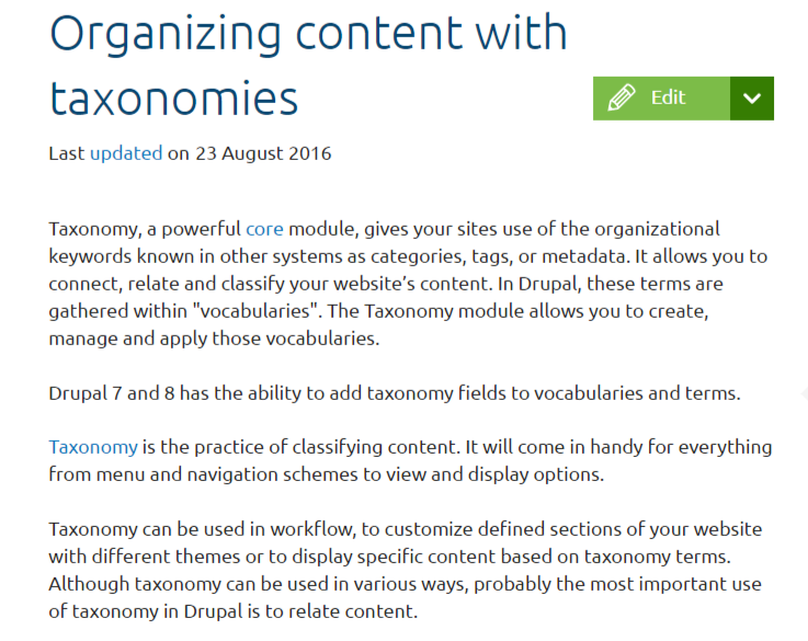 Organizing content with taxonomies