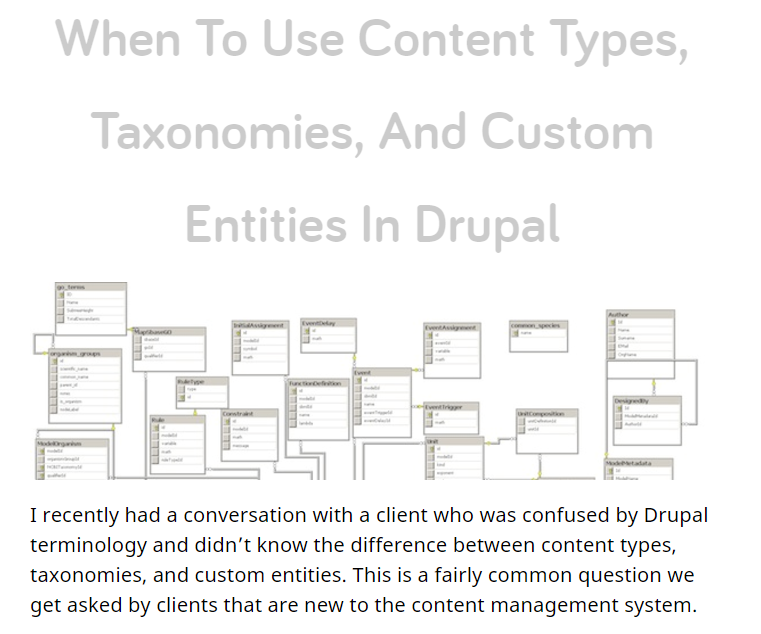 When To Use Content Types, Taxonomies, And Custom Entities In Drupal