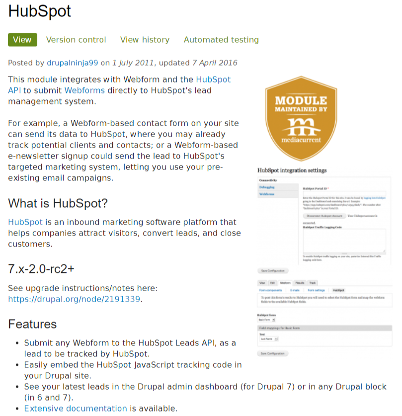 This module integrates with Webform and the HubSpot API to submit Webforms directly to HubSpot's lead management system.