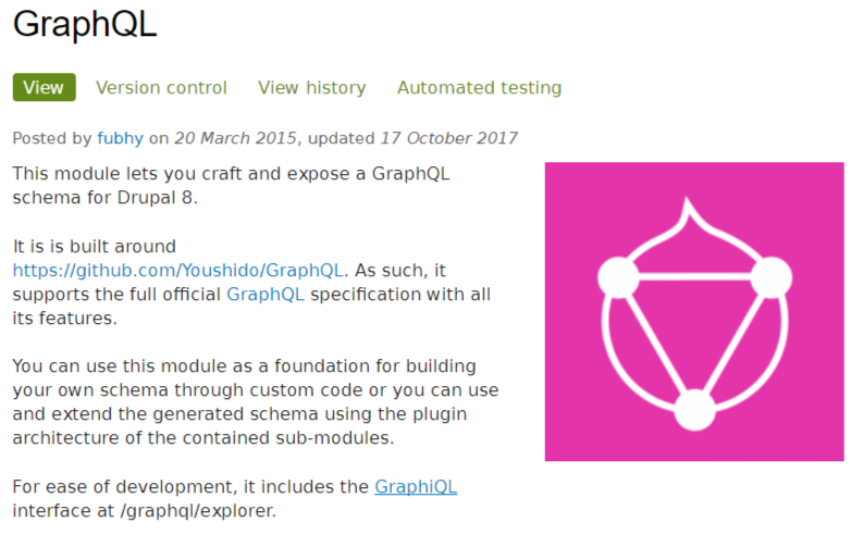 This module lets you craft and expose a GraphQL schema for Drupal 8.
