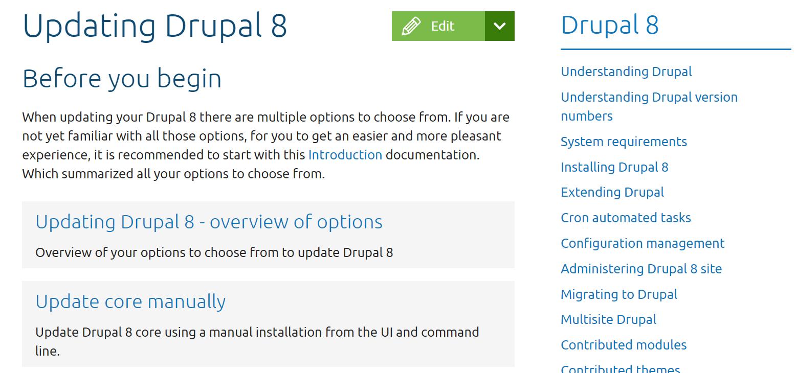 Drupal 8 のアップデイト