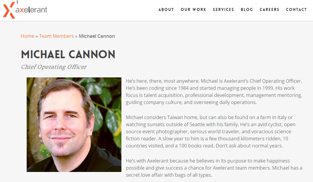 Axelerant Mr.Michael Cannon