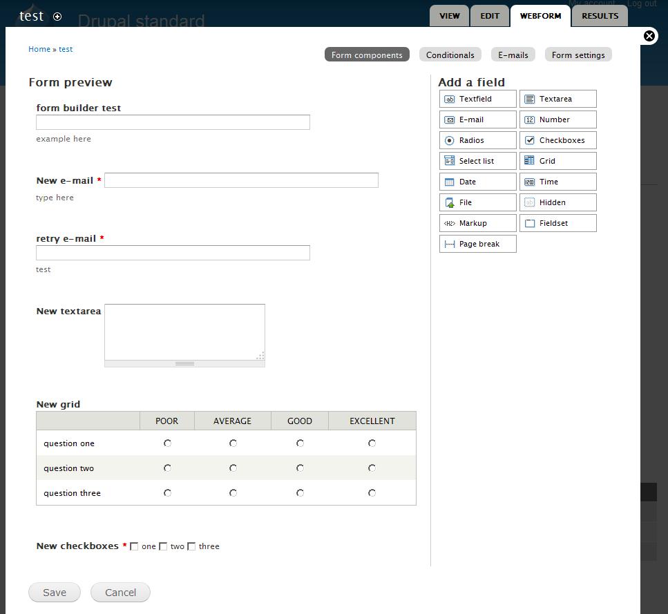 Form Builderの操作画面