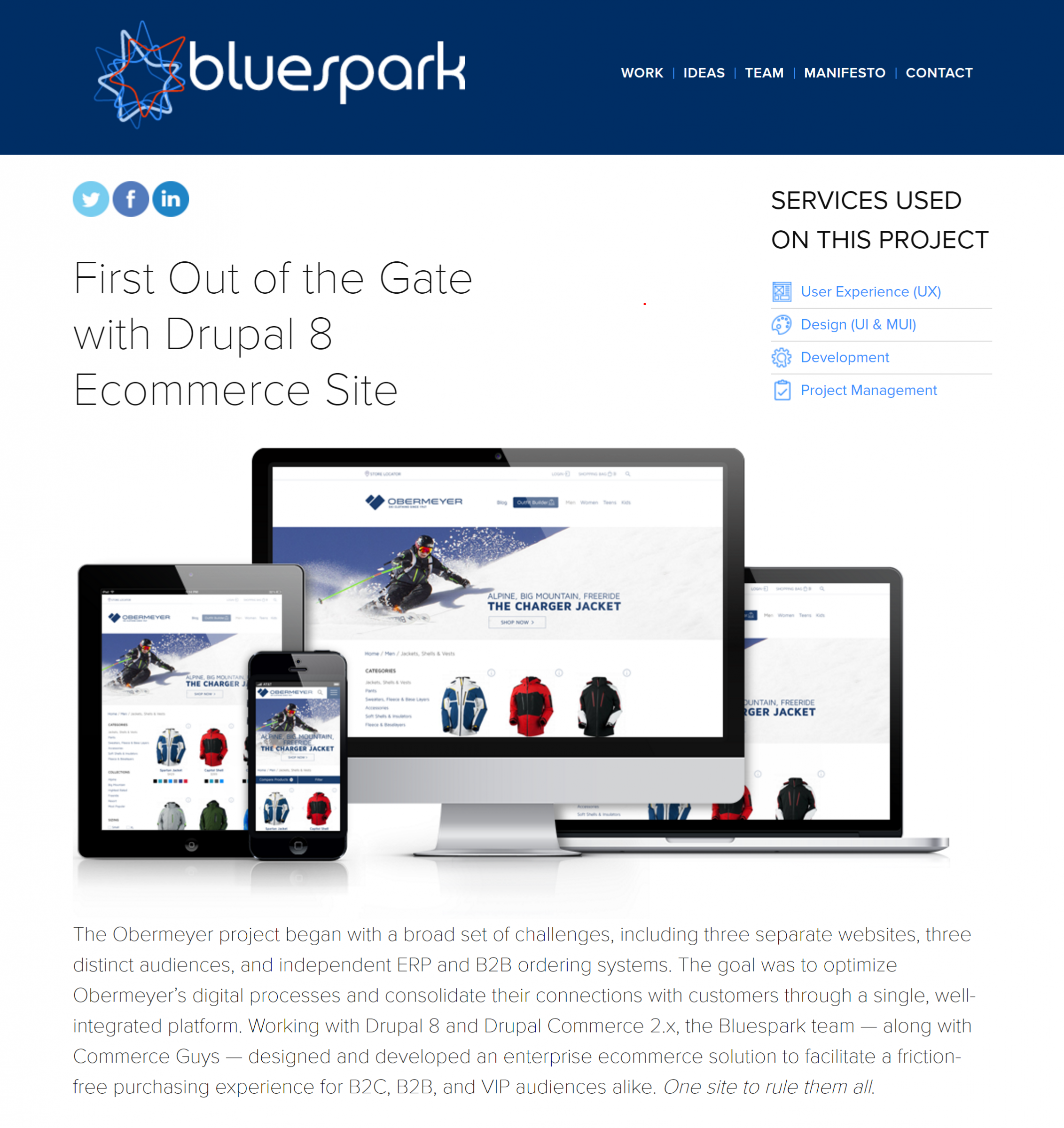 First Out of the Gate with Drupal 8 Ecommerce Site  Bluespark  Obermeyer project